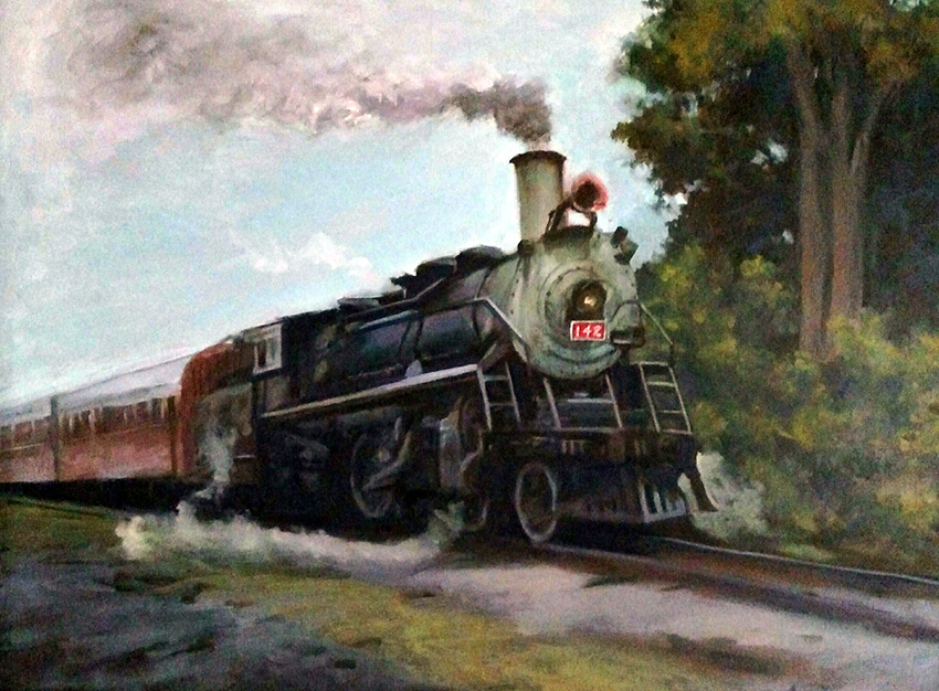 """James Ramsdell """"The Express"""" 18x24 oil $1,400."""