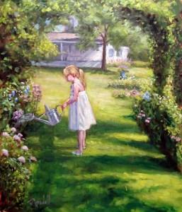 """James Ramsdell """"Garden Waterer"""" 24x20 oil $1,500."""