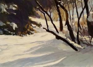 "James Ramsdell ""Winter Shadows"" 5x7 watercolor $125."