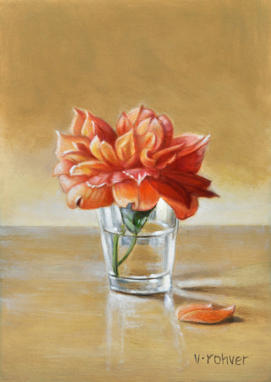"Valorie Rohver ""Apricot Rose"" 7x5 oil $275."