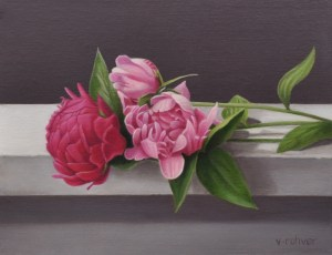 "Valorie Rohver ""Peonies on the Step"" 9x12 oil $525."
