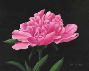"""Valorie Rohver """"Pink Peony Blossom"""" 6x8 oil $295."""