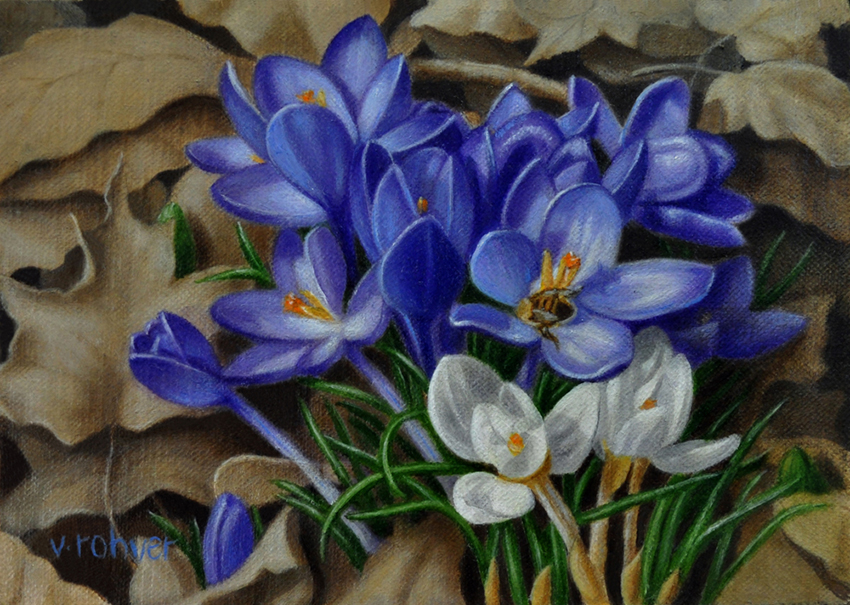 "Valorie Rohver ""Purple Crocus"" 5x7 oil $275."