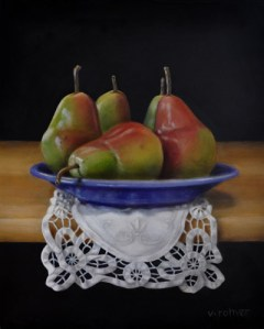 """Valorie Rohver """"The Purple Plate"""" 10x8 oil $450."""