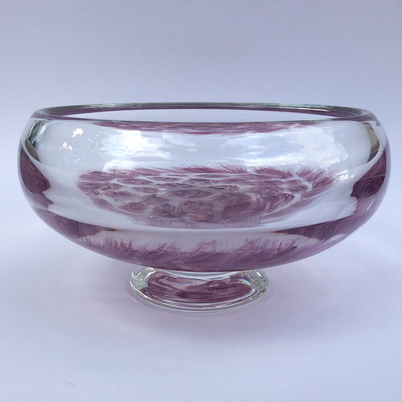 "Aaron Rovner-Buck ""Feather Murrini Bowl - Side"" 7x7x4 blown glass $280."