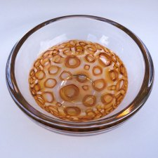 "Aaron Rovner-Buck ""Honey Murrini Bowl - Top"" 8x8x5 blown glass $320."