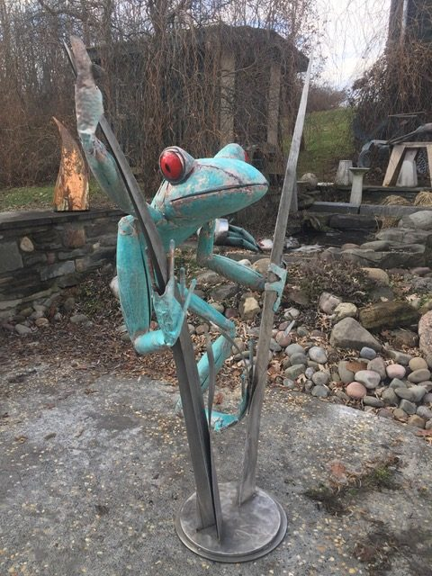"James Seaman ""Frog on Reeds"" mixed media sculpture $ Inquire"