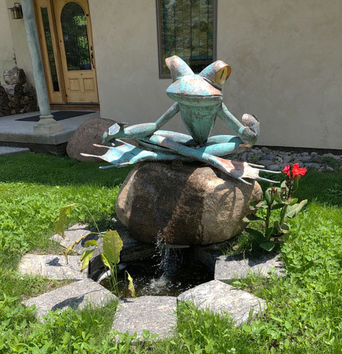 "James Seaman ""Meditating Frog"" mixed media sculpture $ Inquire"