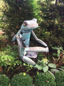 "Jay Seaman ""Sitting Frog"" mixed media sculpture $ Inquire"