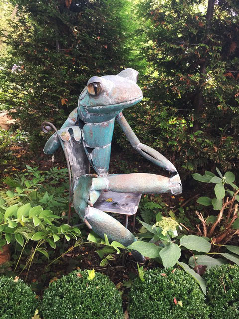 "James Seaman ""Sitting Frog"" mixed media sculpture $ Inquire"