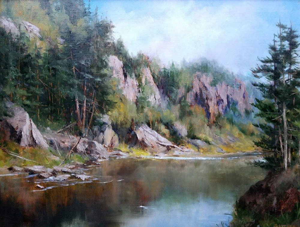 "Judy Soprano ""Bald Mountain Pond"" 18x24 oil $900."