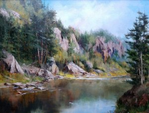 "Judy Soprano ""Bald Mountain Pond"" 18x24 oil $900."