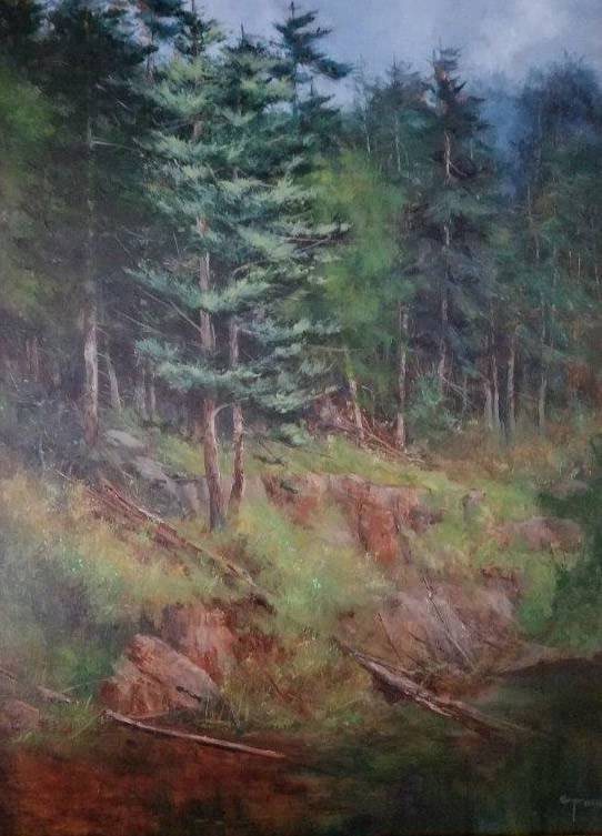 "Judy Soprano ""New Growth Along Black River"" 24x18 oil $900."