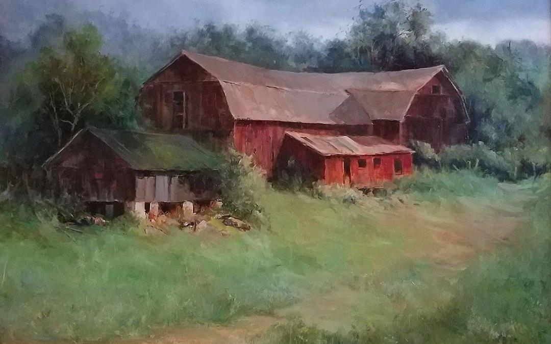 """Judy Soprano """"Opa's Farm"""" 18x24 oil $950."""