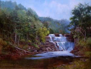 """Judy Soprano """"Outlet Falls"""" 24x30 oil $1,000. SOLD"""
