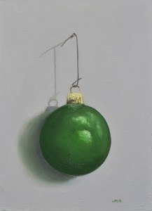 "Sean Witucki ""Green Ornament"" 7x5 oil/board $350."