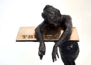 "Gary Weisman ""Resting on Trust"" (view B) 23""h x 12""w x 9""d bronze $6,500. Inquire on availability"