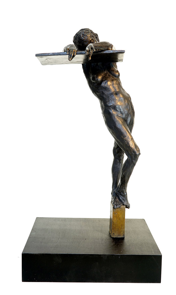 "Gary Weisman ""Resting on Trust"" (view A) 23""h x 12""w x 9""d bronze $6,500. Inquire on availability"