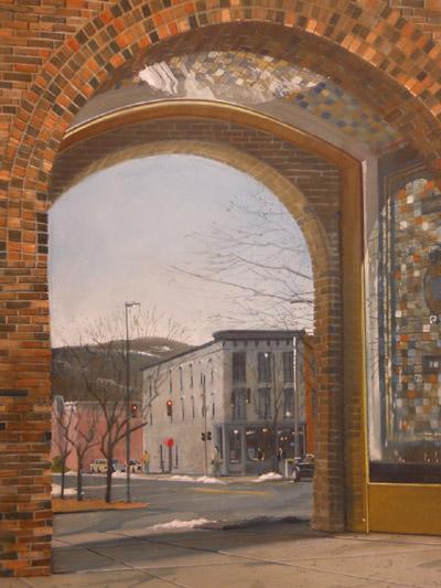 """Corning Glass Archway"" 24x18 gouache $840"