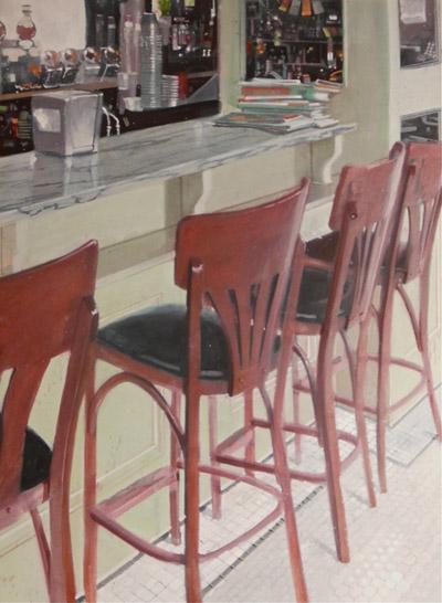 """""""Old World Cafe"""" 24x18 gouache $840"""