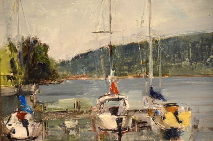"""Bruce Baxter """"Keuka Sailboats"""" 11x14 oil $700."""