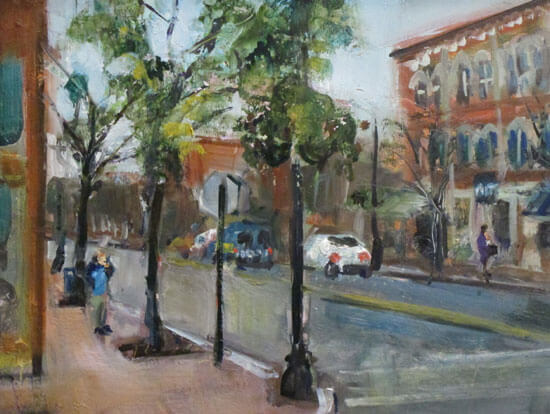 "Bruce Baxter ""Market Street Conference"" 11x14 oil $600"
