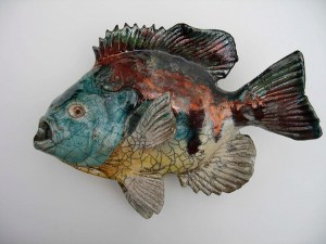 "Alan and Rosemary Bennett ""Bluegill"" raku fired"