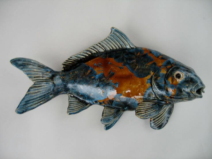 "Alan and Rosemary Bennett ""Multi Koi"" crystal glaze"