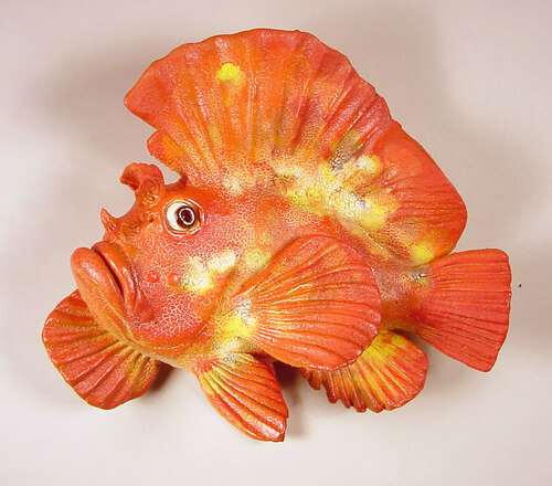 "Alan and Rosemary Bennett ""Orange Leaf Scorpion Fish"" fish glaze"