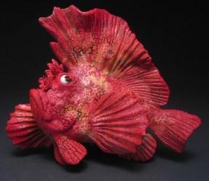 "Alan and Rosemary Bennett ""Red Leaf Scorpion Fish"" fish glaze"