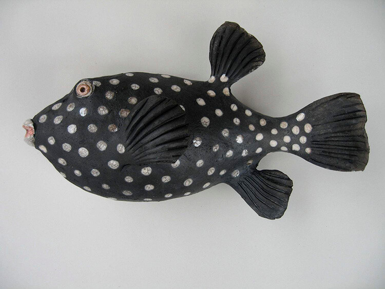 "Alan and Rosemary Bennett ""Black and White Puffer"" raku fired"