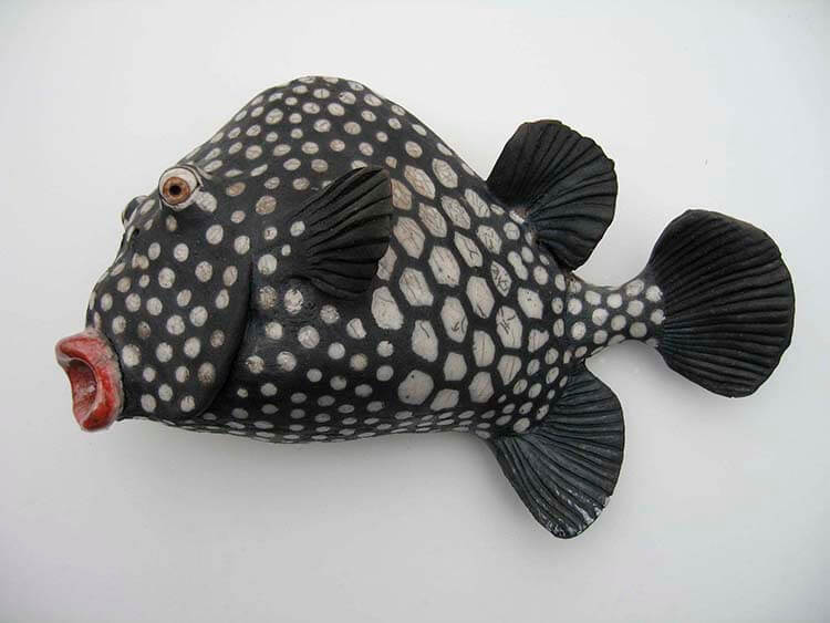 "Alan and Rosemary Bennett ""Smooth Trunkfish"" raku fired"