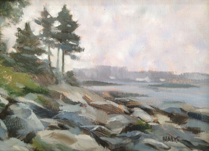 """Anne L. Bialke """"Gray Day on the Cove"""" 5x7 oil $225."""