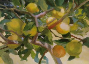 "Anne L. Bialke ""Italian Lemons"" 6x8 oil $285."