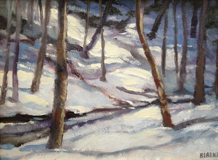 "Anne L. Bialke ""Sun on Snow"" 5x7 oil $200."