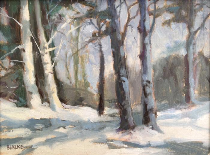 """Anne L. Bialke """"Twin Birches"""" 6x8 oil $260. INQUIRE *"""