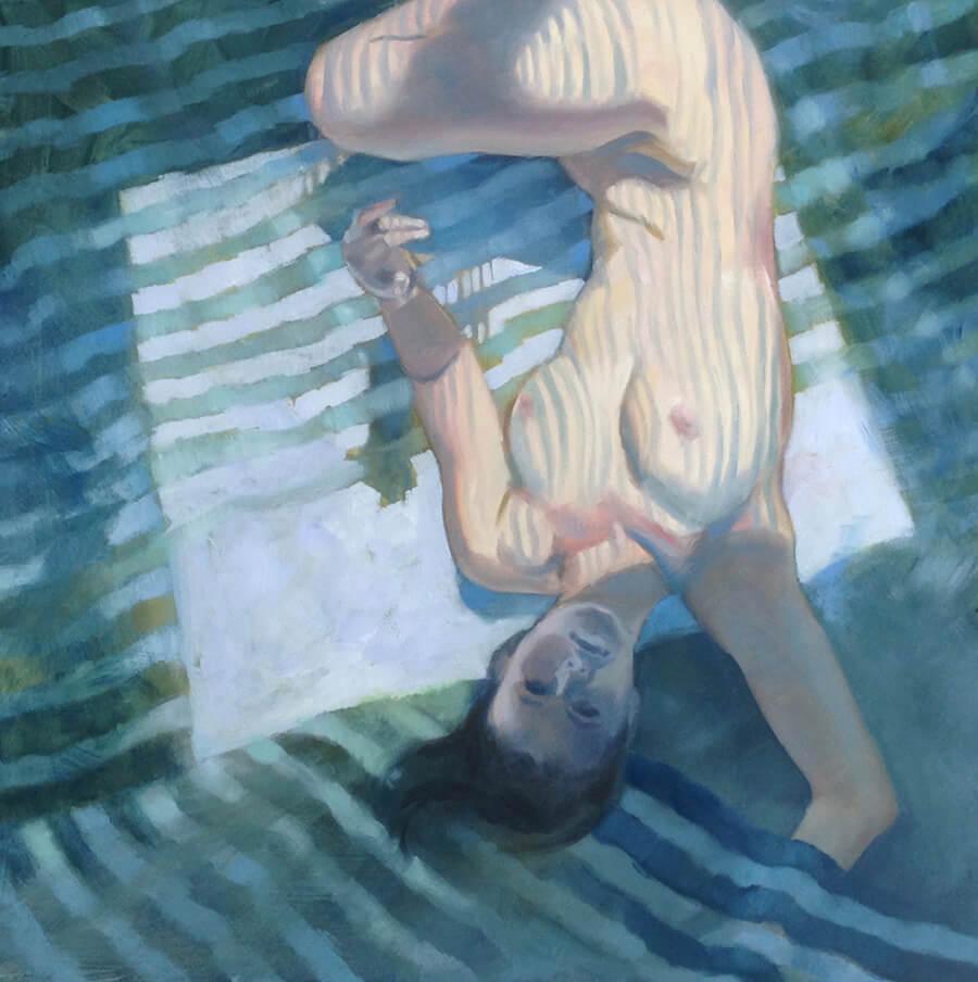 """Anne Bialke """"Venetian Blinds"""" 18x18 oil $950. INQUIRE *"""