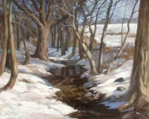 """Anne Bialke """"Winter Brook"""" 16x20 oil $1,100."""