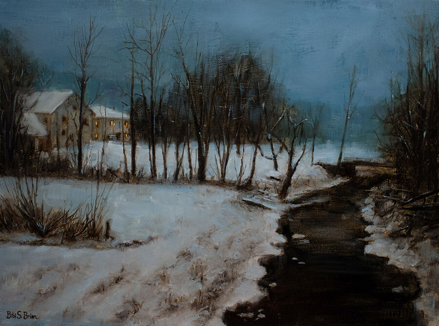 "Bibi S. Brion ""Nocturne in Nauvoo"" 12x16 oil $1,500"