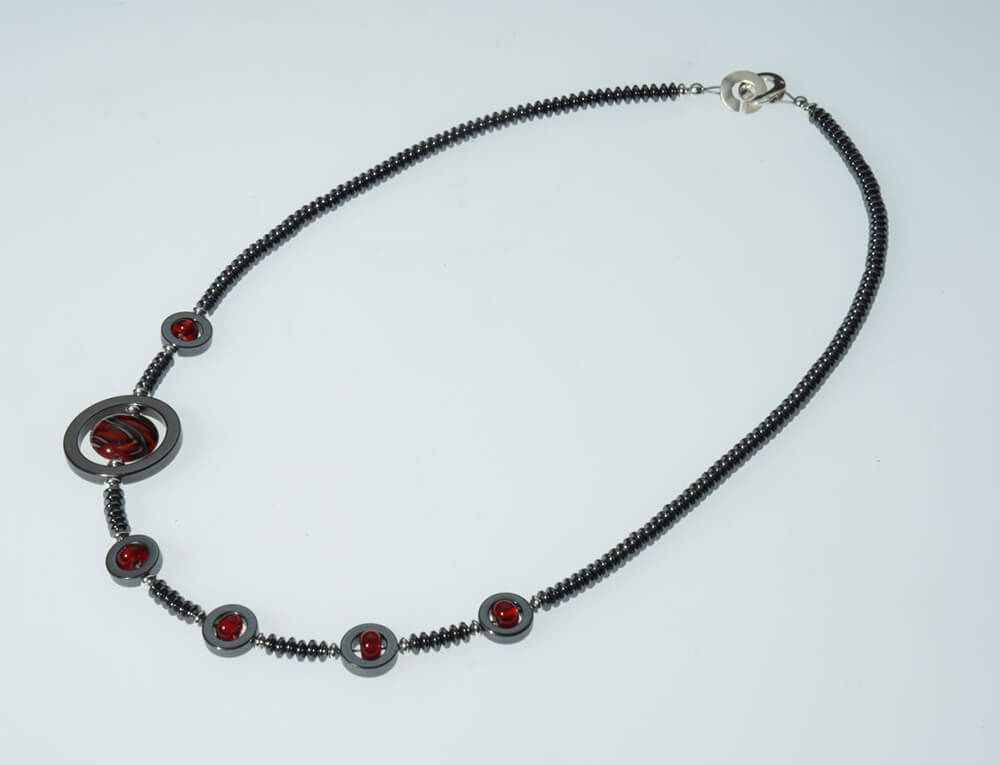 "Becky Congdon ""Off Centered Ribbon Necklace"" handmade flameworked glass beads, hematite gemstone, SS 22"" $150"