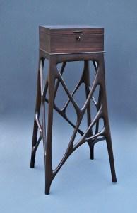 "Tracy Fiegl ""Trabecular Box"" 42x20x18 walnut veneer, walnut, stain $3,025. (hand-crafted key included)"
