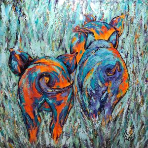 "Amy Hutto ""Pig Tails"" 24x24 acrylic/gold leaf $750"