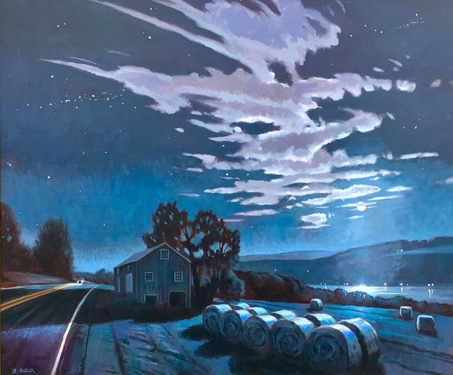 "Brian Keeler ""Moonlit Bales Over Keuka"" 30x36 oil $3,400"