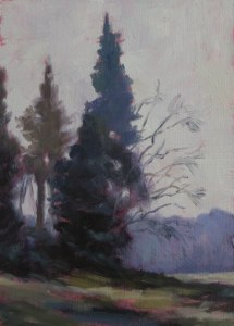 "Anne Bialke ""Late Fall Poetry"" 7x5 oil $185."