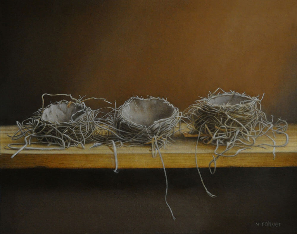 "Valorie Rohver ""Nest Collecting"" 16x20 oil $1,400"