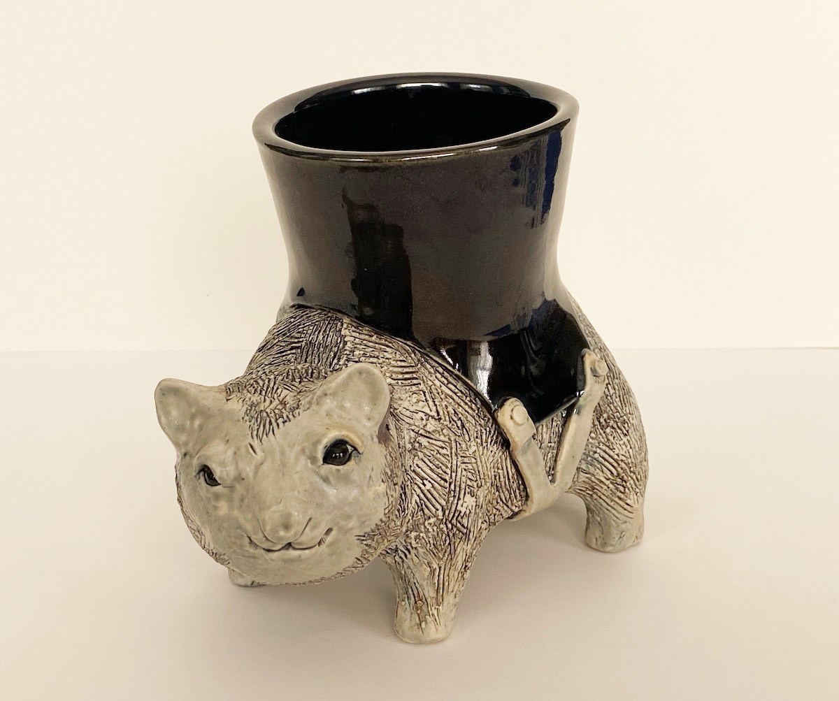 "Bohn Whitaker ""Working Wombat"" 6x4x8 clay sculpture $150."