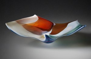 """Paul Willsea and Carol O'Brien """"Red/White/Blue Tabletop and Wall Sculpture"""" blown glass $ Inquire (display on a table or use rotatable wall mount)"""