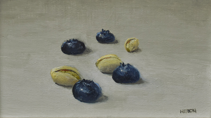 "Sean Witucki ""Pistachios and Blueberries"" 4x6 oil/linen $250. SOLD"