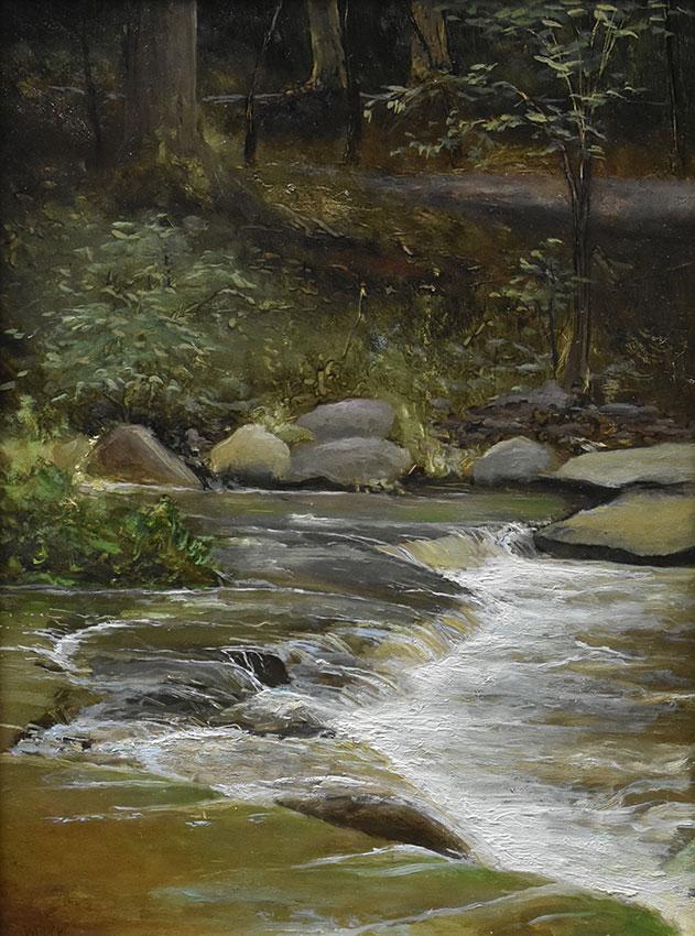 "Sean Witucki ""Wolf Creek After the Rain"" 12x9 oil/board $1,050."