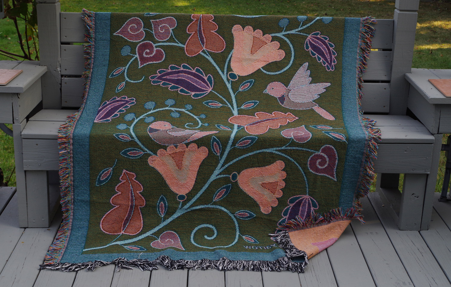 """Wynn Yarrow """"Garden Fantasy - Reverse Side"""" 100% cotton jacquard woven tapestry/blanket, (made in the USA), design by Wynn Yarrow $225. Inquire on availability of colors/designs"""